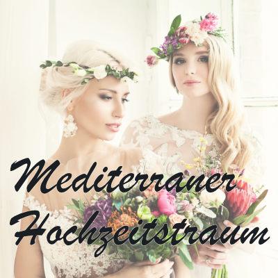 Brautjungfern mit Schriftzug Mediterraner Hochzeitstraum